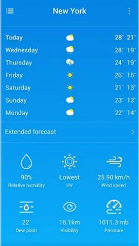 Neffos weather app for Android, download programs for phones and tablets for free.