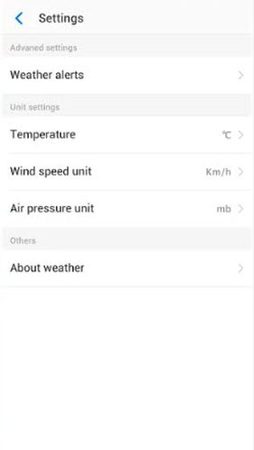 Screenshots des Programms Neffos weather für Android-Smartphones oder Tablets.