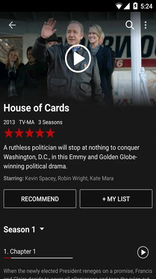 Screenshots of Netflix program for Android phone or tablet.