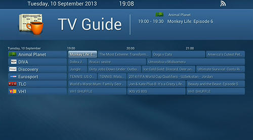 Screenshots of NetUP TV program for Android phone or tablet.