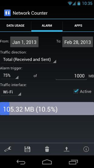 Capturas de tela do programa Network Counter em celular ou tablete Android.