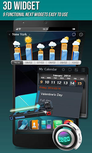 Capturas de tela do programa Next launcher 3D em celular ou tablete Android.