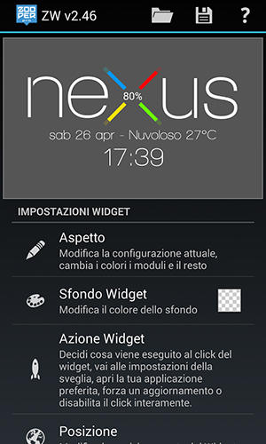 Screenshots of Nexus 5 zooper widget program for Android phone or tablet.