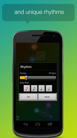 Screenshots des Programms Node Beat für Android-Smartphones oder Tablets.