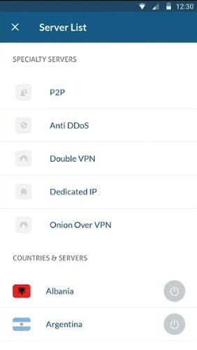Screenshots des Programms NordVPN: Best VPN fast, secure & unlimited für Android-Smartphones oder Tablets.