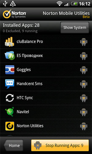 Capturas de tela do programa Norton mobile utilities beta em celular ou tablete Android.