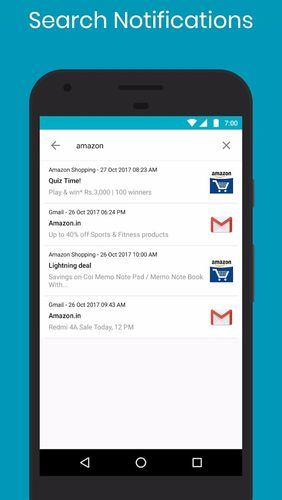 Screenshots of Notification history log program for Android phone or tablet.