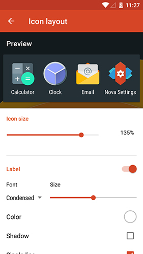 Screenshots of Nova Launcher program for Android phone or tablet.