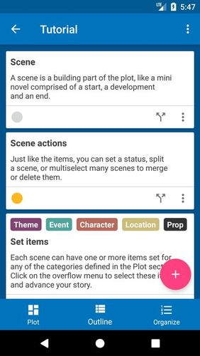 Screenshots des Programms Novelist - Write your novels für Android-Smartphones oder Tablets.