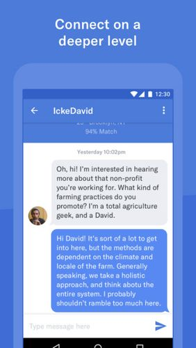 Screenshots of OkCupid dating program for Android phone or tablet.