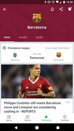 Screenshots of Onefootball - Live soccer scores program for Android phone or tablet.