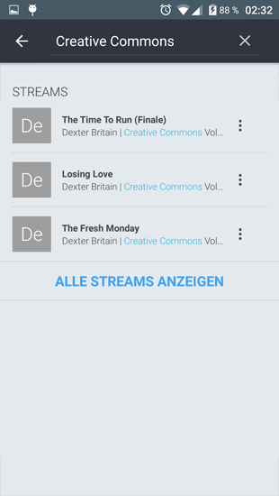 Screenshots des Programms Orpheus Music Player für Android-Smartphones oder Tablets.