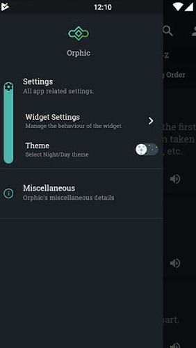 Screenshots of Orphic program for Android phone or tablet.