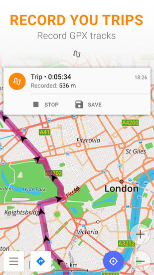 Screenshots des Programms Osmand: Maps and Navigation für Android-Smartphones oder Tablets.