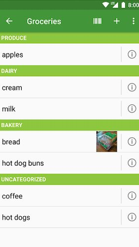 Screenshots des Programms Our Groceries: Shopping list für Android-Smartphones oder Tablets.