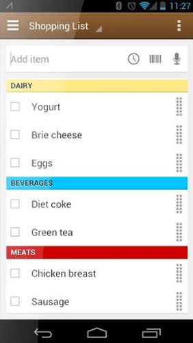Out of milk - Grocery shopping list