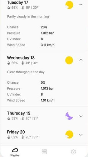 Capturas de pantalla del programa Overdrop - Animated weather & Widgets para teléfono o tableta Android.