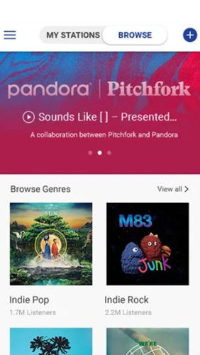 Pandora music app for Android, download programs for phones and tablets for free.
