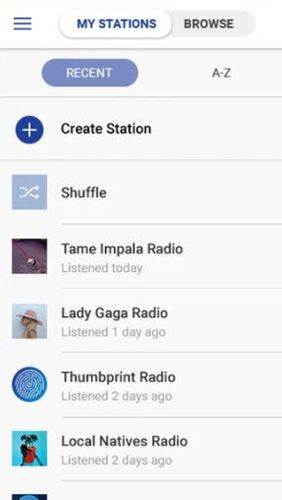Screenshots of Pandora music program for Android phone or tablet.