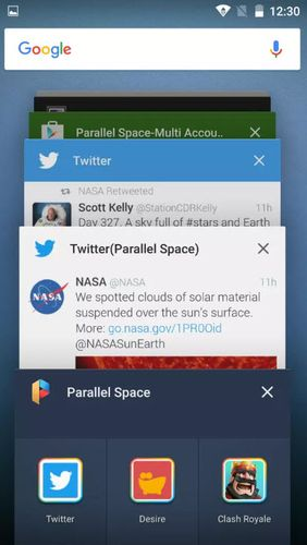 Screenshots des Programms Parallel space - Multi accounts für Android-Smartphones oder Tablets.