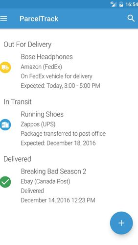 Les captures d'écran du programme ParcelTrack - Package tracker for Fedex, UPS, USPS pour le portable ou la tablette Android.