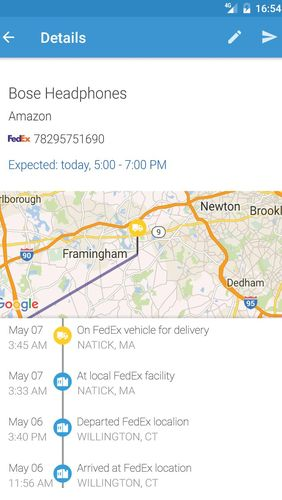 Screenshots des Programms ParcelTrack - Package tracker for Fedex, UPS, USPS für Android-Smartphones oder Tablets.