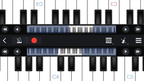 Les captures d'écran du programme Perfect Piano pour le portable ou la tablette Android.