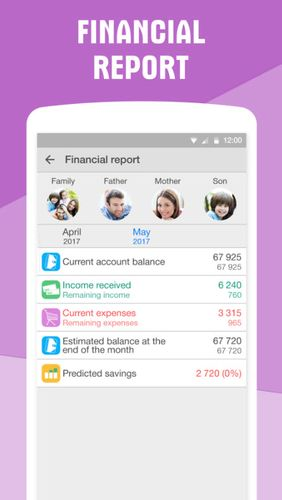 Screenshots des Programms Personal finance: Expense tracker für Android-Smartphones oder Tablets.