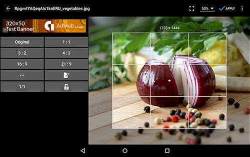 Screenshots des Programms Photo editor für Android-Smartphones oder Tablets.