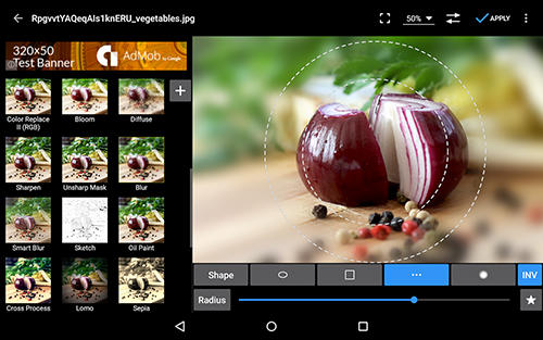 Capturas de tela do programa Photo editor em celular ou tablete Android.