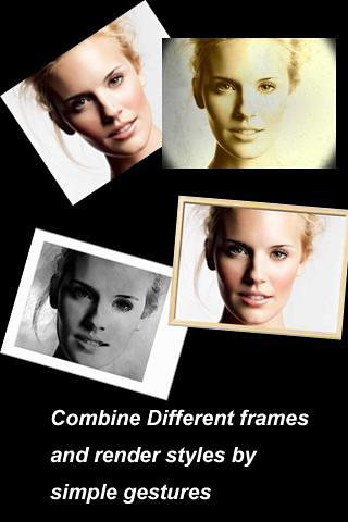 Les captures d'écran du programme Photo painter pour le portable ou la tablette Android.