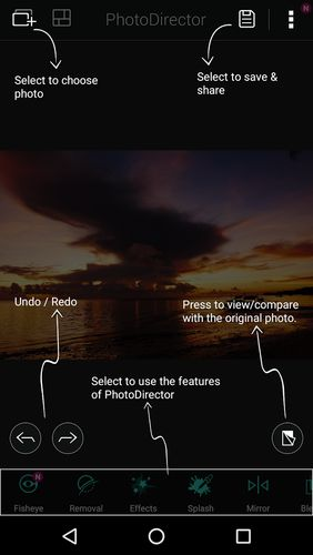 Screenshots des Programms PhotoDirector - Photo editor für Android-Smartphones oder Tablets.