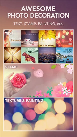 Les captures d'écran du programme PicsPlay: Photo Editor pour le portable ou la tablette Android.