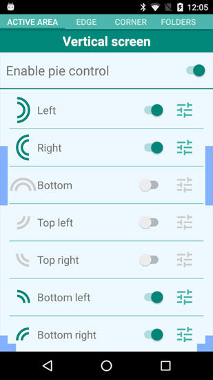 Capturas de tela do programa Pie Control em celular ou tablete Android.