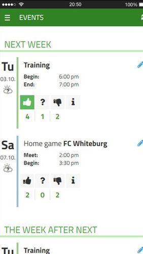 Screenshots des Programms PlayerPlus - Team management für Android-Smartphones oder Tablets.