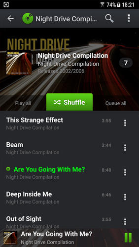 Capturas de pantalla del programa Musicana music player para teléfono o tableta Android.
