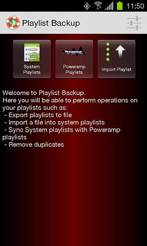 Les captures d'écran du programme Playlist backup pour le portable ou la tablette Android.