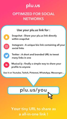 Capturas de tela do programa Plu.us – Your online world in one word em celular ou tablete Android.