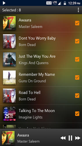 Les captures d'écran du programme PowerAudio: Music Player pour le portable ou la tablette Android.