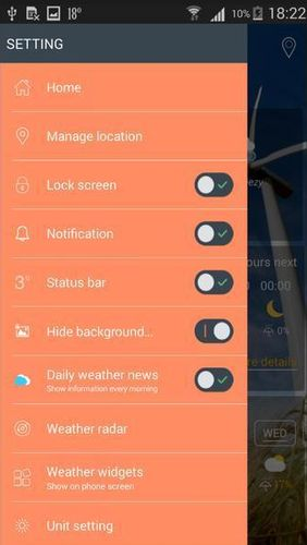 Les captures d'écran du programme Prime weather: Live forecast, widget & radar pour le portable ou la tablette Android.