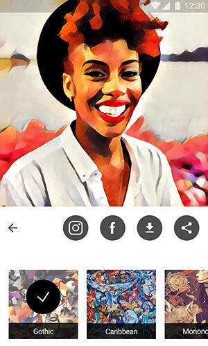 Screenshots of Prisma program for Android phone or tablet.