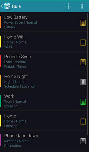 Screenshots of Profile scheduler program for Android phone or tablet.