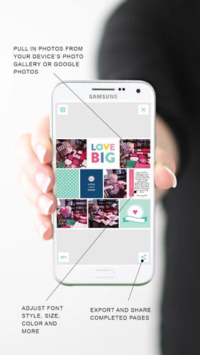 Capturas de tela do programa Project Life: Scrapbooking em celular ou tablete Android.