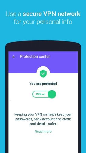 Les captures d'écran du programme Protect free VPN+Data manager pour le portable ou la tablette Android.