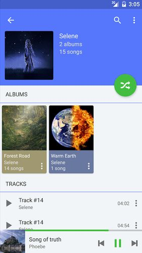Les captures d'écran du programme Pulsar - Music player pour le portable ou la tablette Android.