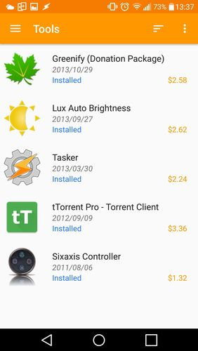 Screenshots des Programms Purchased apps: Restore your paid apps für Android-Smartphones oder Tablets.