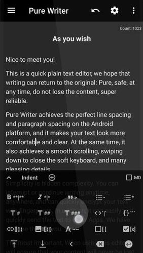 Pure writer - Never lose content editor app for Android, download programs for phones and tablets for free.