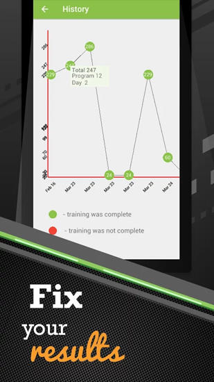Screenshots des Programms Pushups Workout für Android-Smartphones oder Tablets.
