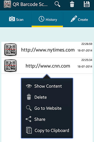 Screenshots of QR barcode scaner pro program for Android phone or tablet.