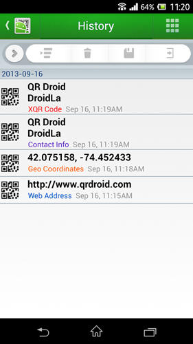 QR droid: Code scanner app for Android, download programs for phones and tablets for free.